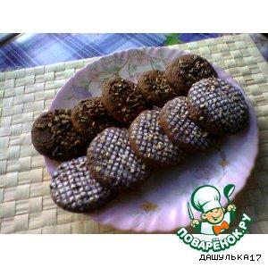 Печенье шоколадное с изюмом и орехами