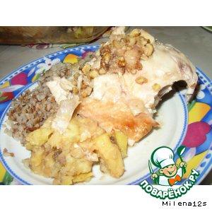 Цыпленок с яблоками под медово-ореховой корочкой