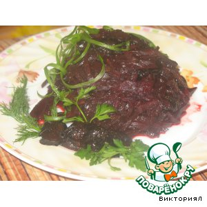 Теплый салат из свеклы и чернослива