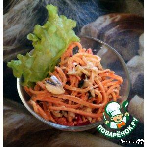 Салат из корейской морковки, мяса и шампиньонов