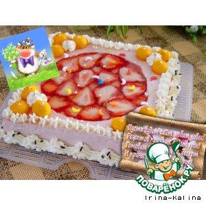 """Праздничный торт-мусс """"Клубничная любовь"""""""
