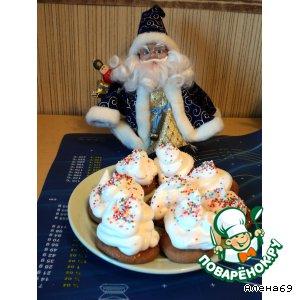 """Новогодние пирожные с кремом """"Мокрое безе"""""""