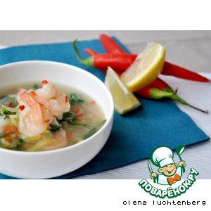 Легкий суп с креветками