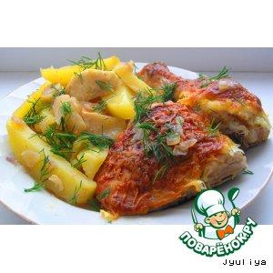 Цыпленок с картофелем и яблоками