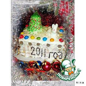 """Творожно-сливочный торт """"Новогодний"""""""
