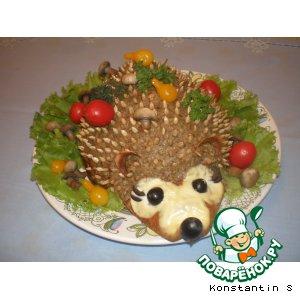 """Печеночный торт с грибами """"Ежик"""""""