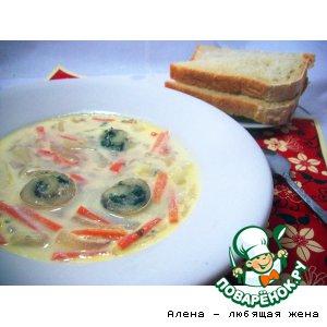 Сливочный суп с рыбными спиральками