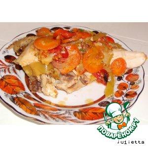 Цыпленок с овощами, тушенный в фольге