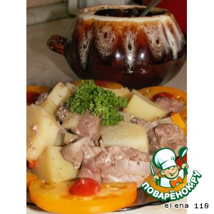 Горшочек с печенью и грибами