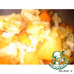 Курочка, запеченная в рукаве с овощами