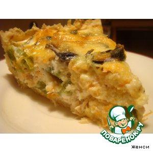 Открытый пирог с мидиями и семгой