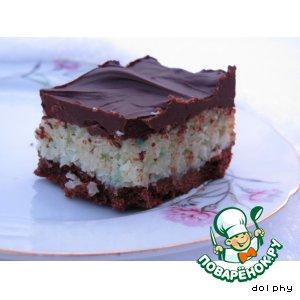 Шоколадно-кокосовое пирожное