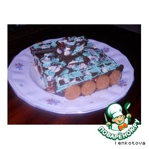 """Венгерский торт """"Добош"""" и его оформление в виде танка"""