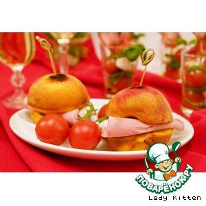 Гриллованые персики с ветчиной и моцареллой