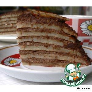 Постный блинный торт