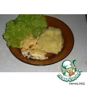 Мидии, запеченные в сырно-чесночном соусе