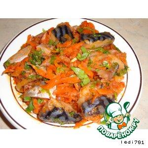 Закуска из скумбрии, с морковью и луком