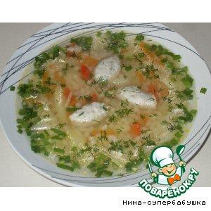 Суп с макаронами и куриными клецками