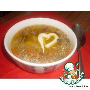Манный суп с грибами и копченым салом
