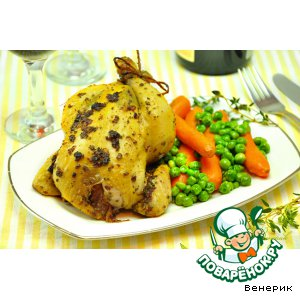 Цыплята в ароматном масле и гарнир из зеленого горошка с морковью