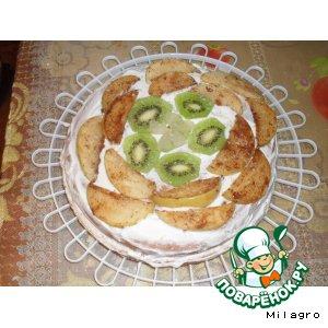 Бисквитный торт с творожным кремом и яблоками