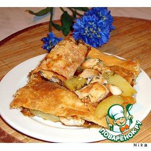 Слоеный пирог с куриным филе