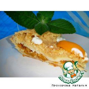 Сливочный пирог с персиками