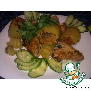 Картошка, фаршированная с крылышками