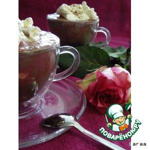Шоколад с мороженым и малиной