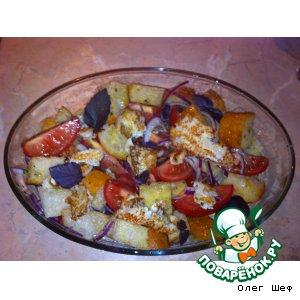Салат с чиабаттой и камбалой