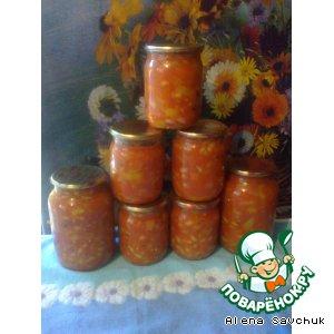 Фасоль с перцем в томатном соке