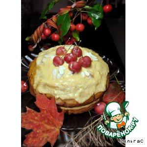 Кекс осенний с яблоками, морковью и тыквенной кремовой прослойкой