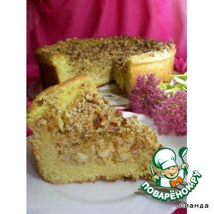 Пирог из дрожжевого творожного теста с яблоками