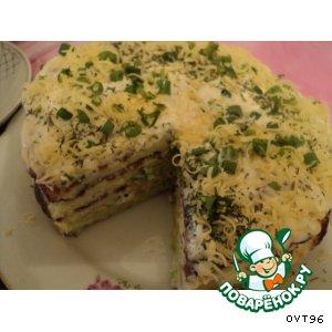 """Закусочный торт """"Слоеный кабачок"""""""