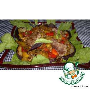 Теплый салат из баклажанов с рисом и говядиной