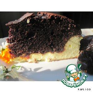 Творожная запеканка с шоколадным кексом и финиками