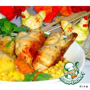 Куриное филе на косточке, с грибами и сыром