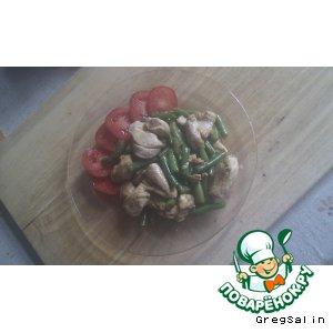 Куриная грудка с зеленой фасолью