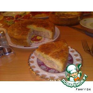 Рыбный и персиковый пироги из песочно-дрожжевого теста