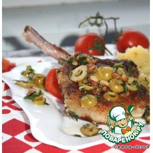 Мясо с оливками и кедровыми орешками
