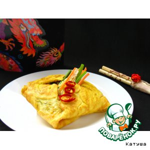Рис с древесными грибами в омлете по- китайски