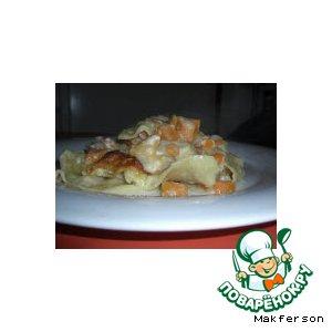 Лазанья с тыквой и лососем