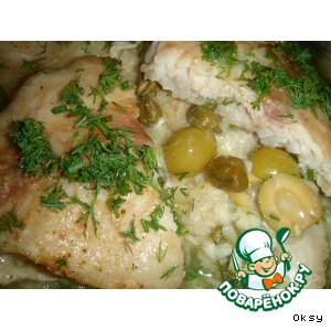 Рыба, запеченная с оливками и каперсами