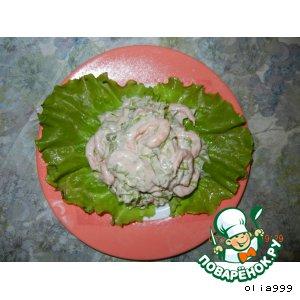 Салатик с креветками и чесночком