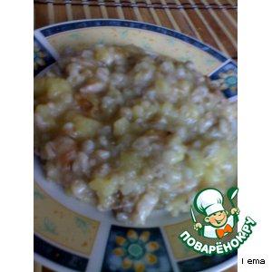 Каша из картофеля с перловой крупой и мясом