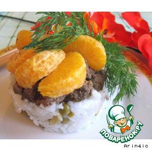 Печень по-японски с мандаринами