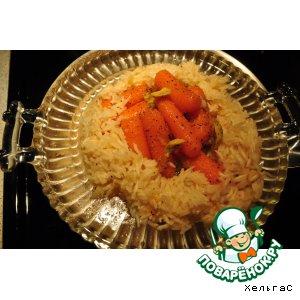 Морковь в апельсиновом  мармеладе с рисом