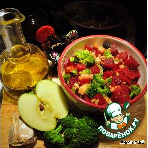 Салат из свеклы и брокколи с яблоком и орехами - весеннее пробуждение