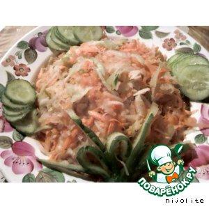 Салат с зелeной редькой