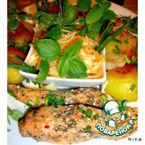 Запечeнный лосось с картофелем
